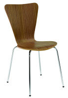 Ff Arista Wooden Bistro Chair Wal/chrm - 4 Pack