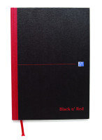 Black N Red A4 Casebound Double Cash Notebook - 5 Pack