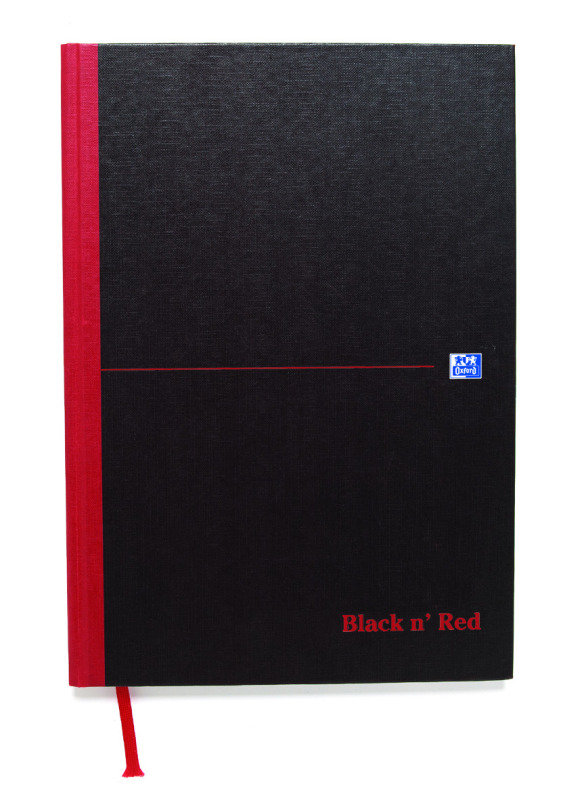 Image of Black N Red A4 Casebound Double Cash Notebook - 5 Pack