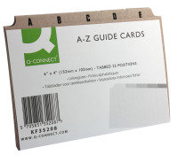 Q CONNECT GUIDECARDS 6X4 A-Z BUFF
