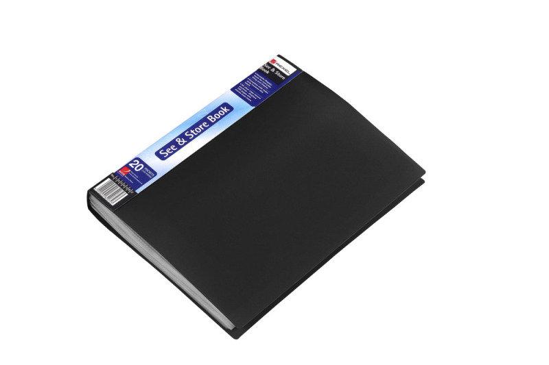 REXEL DISPLAY BOOK A4 20PKT BLACK 10555
