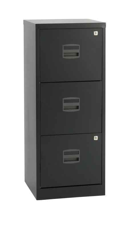 Image of Bisley A4 Personal Filing Cabinet 3 Drawer Black