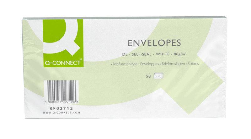 Q Connect Wallet Dl Wht Pln Ss 80g Pk50 - 20 Pack