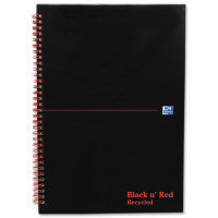 Blk N Red Wirnbk A4 140 Pages Ft Rcyc - 5 Pack