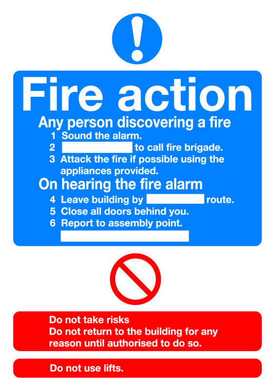 SIGNSLAB A5 FIRE ACTION STANDARD PVC