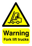 Extra Value A5 PVC Safety Sign - Fork Lift Trucks