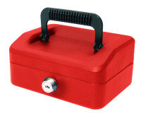 HELIX 15CM SLOPING LID CASH BOX RED