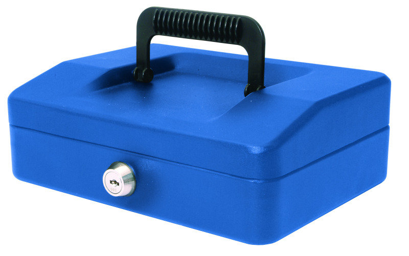 HELIX 20CM SLOPING LID CASH BOX BLUE