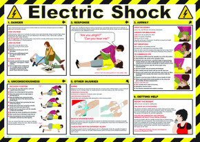 Health and Safety Poster Electric Shock 420x590mm