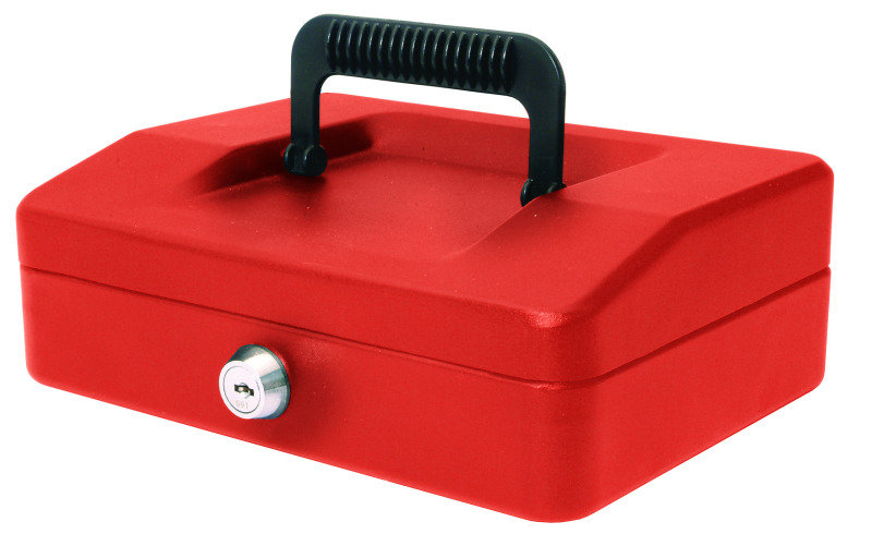 HELIX 20CM SLOPING LID CASH BOX RED