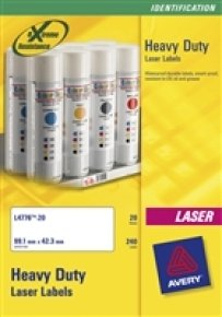 AVERY LASER LABEL H/DUTY 1/SHT 20/PK WH