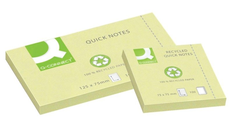 Q Connect Quick Notes Recyc 75x125 Yllw - 12 Pack