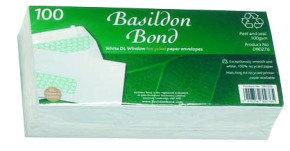 BASILDON BOND DL WLT WDW 100G WHTE PK100