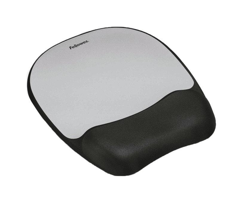Fellowes Memory foam Mouse Pad/Wrist Rest- Silver Streak