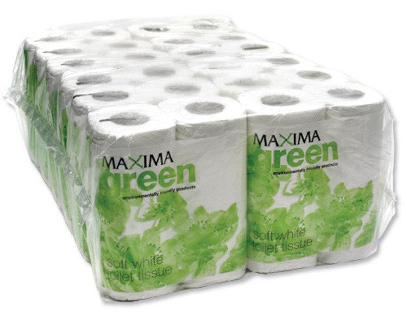 Image of MAXIMA GREEN 200SHT TOILET ROLL WHT PK48