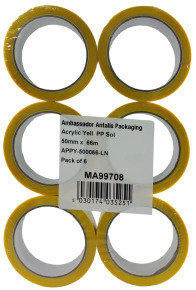 Polypropylene Tape 50x66 Yellow 62050662 - 6 Pack