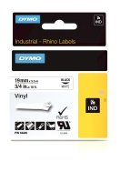 Dymo Black on White Rhino Vinyl Tape 19mm x 5.5m