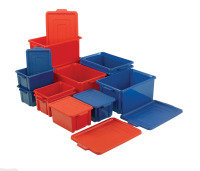 VFM Red Jumbo Plastic Storemaster Crate with Lid