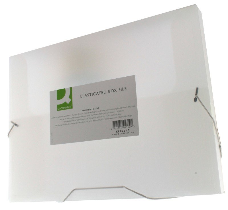 Q CONNECT ELASTICATED BOXFILE CLEAR