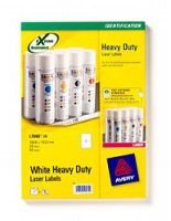 AVERY LASER LABEL H/DUTY 2/SHT 20/PK WH