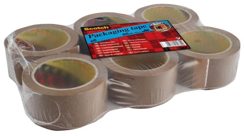 Scotch Pack Tape Pvc 50mmx66m Buff - 6 Pack