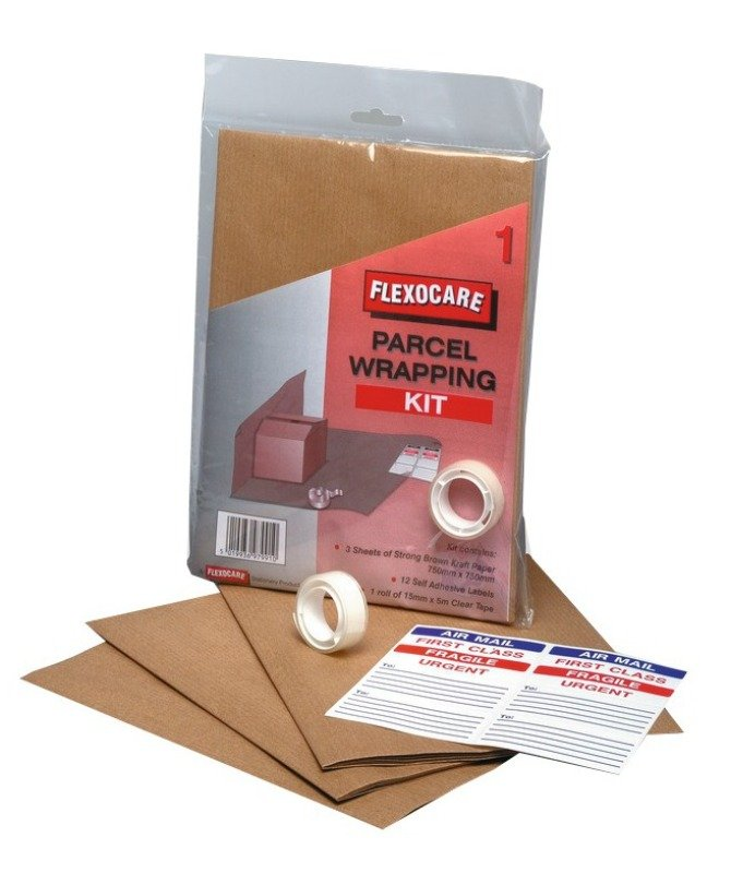 Image of FLEXOCARE PARCEL WRAPPING KIT BROWN PK24