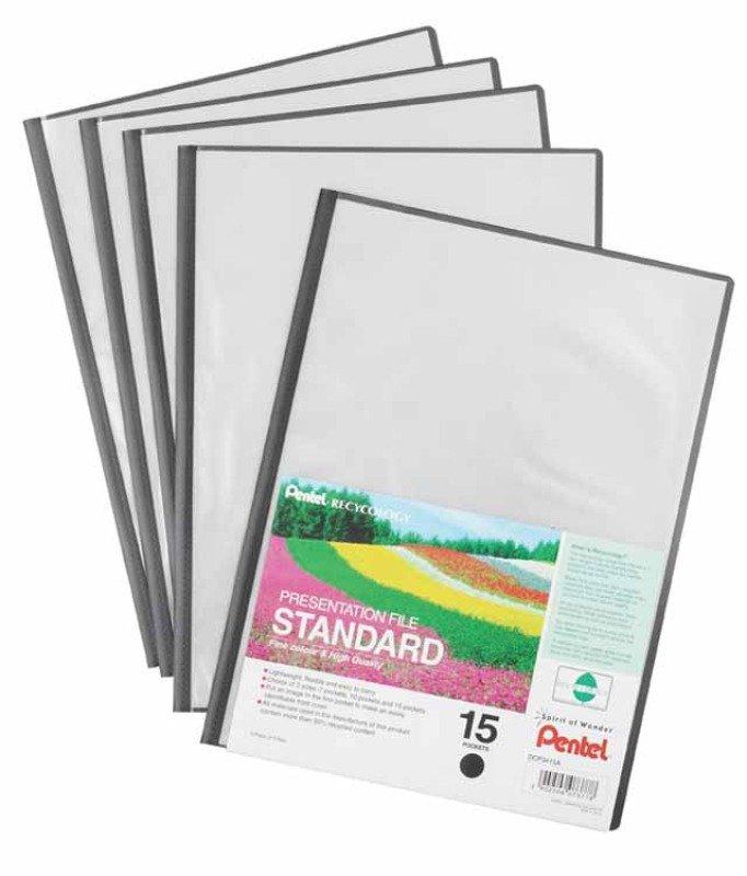 Pentel Recy A4 Pres File 15pkt Black - 5 Pack