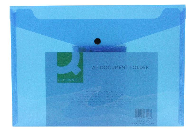 Qconnect Doc Folder Polyprop A4 Blue  12 Pack