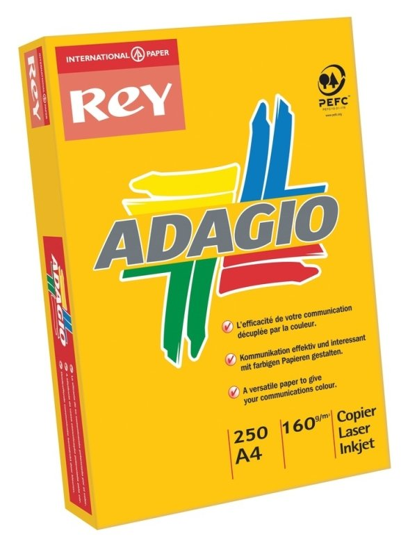 Image of Adagio 160gsm A4 Intense Yellow Mutli-Function Printer Card - 250 Pack