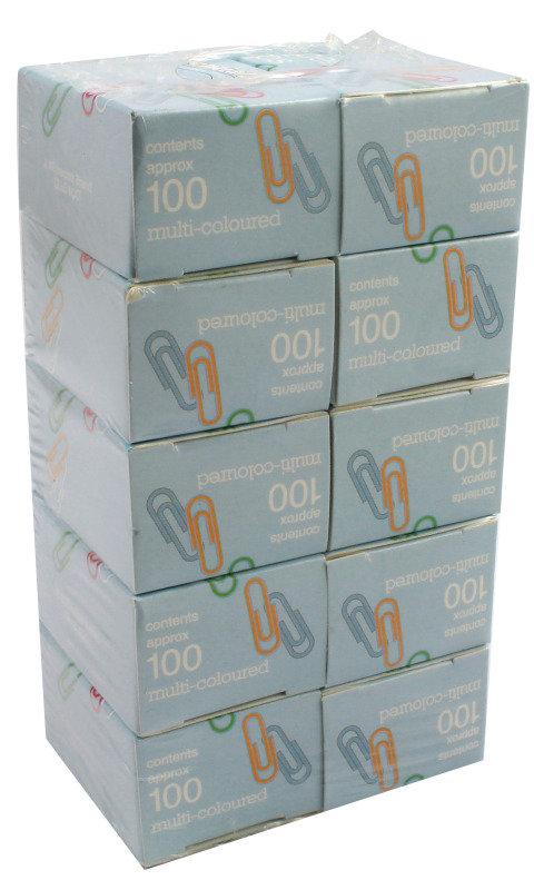 Clipper Paperclip Lge Plain Box100 Asstd - 10 Pack