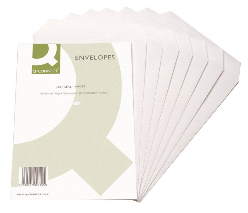Q Connect C4 90G White Self Seal Envelopes - 250 Pack