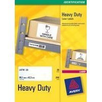 AVERY LASER LABEL H/DUTY 1/SHT 20/PK SIL