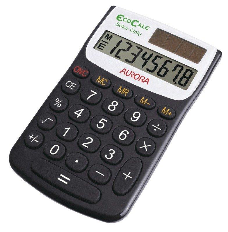 Aurora EC101 Pocket Calculator 8 Digit Solar Powered