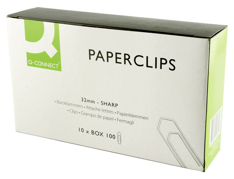 Q Connect Paperclips 32mm No Tear Pk100 - 10 Pack