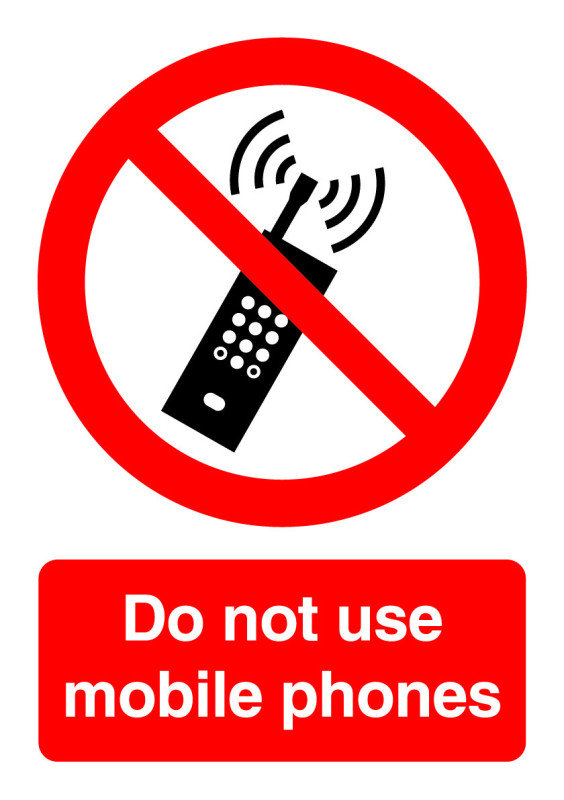 Image of Extra Value PH01051S A5 Self Adhesive Safety Sign - No Mobile Phones
