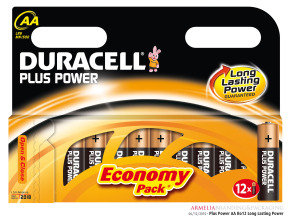 Duracell Plus AA Alkaline Battery - 12 Pack