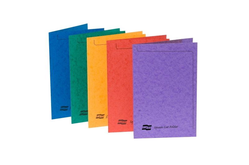 Europa Squarecut Folder Foolscap - Assorted- Pack of 50