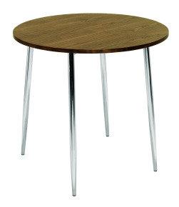 FF ARISTA ROUND BISTRO TABLE WAL/CHROME
