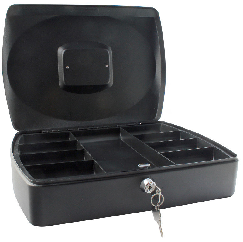Q Connect 10 Inch Cash Box - Black