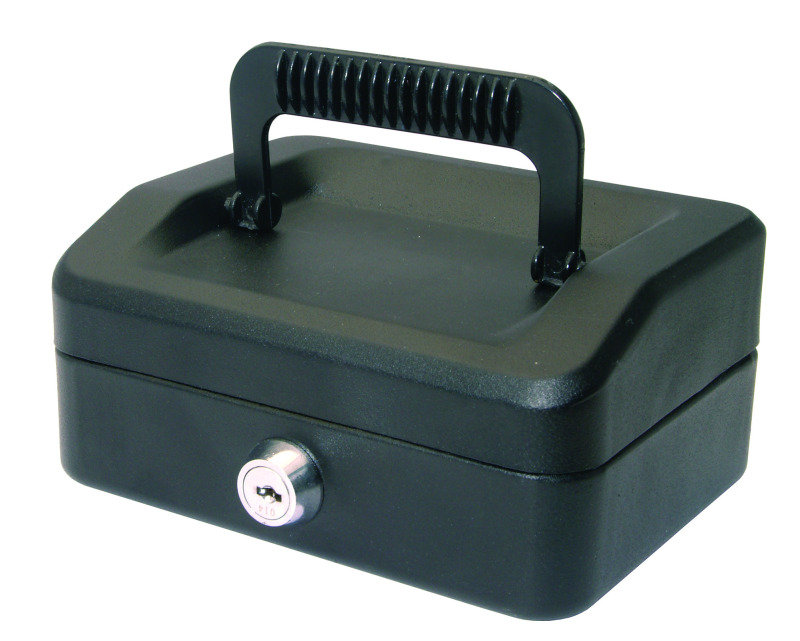HELIX 15CM SLOPING LID CASH BOX BLACK
