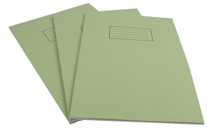 Silvine A4 Exer Book 80pg Lined Marg Grn - 10 Pack