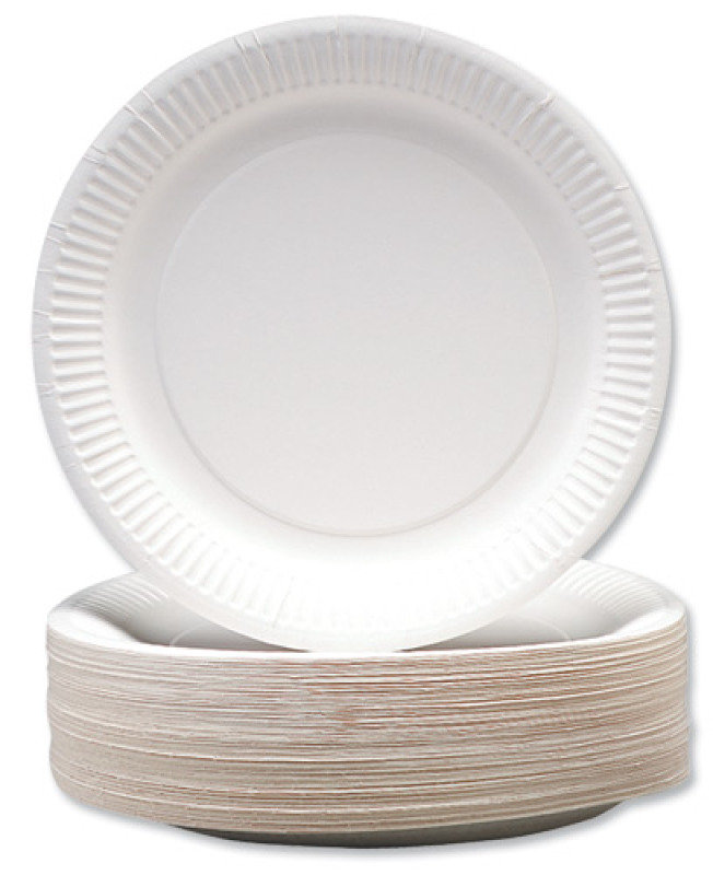 """CPD 9"""" White Paper Plate - 100 Pack"""