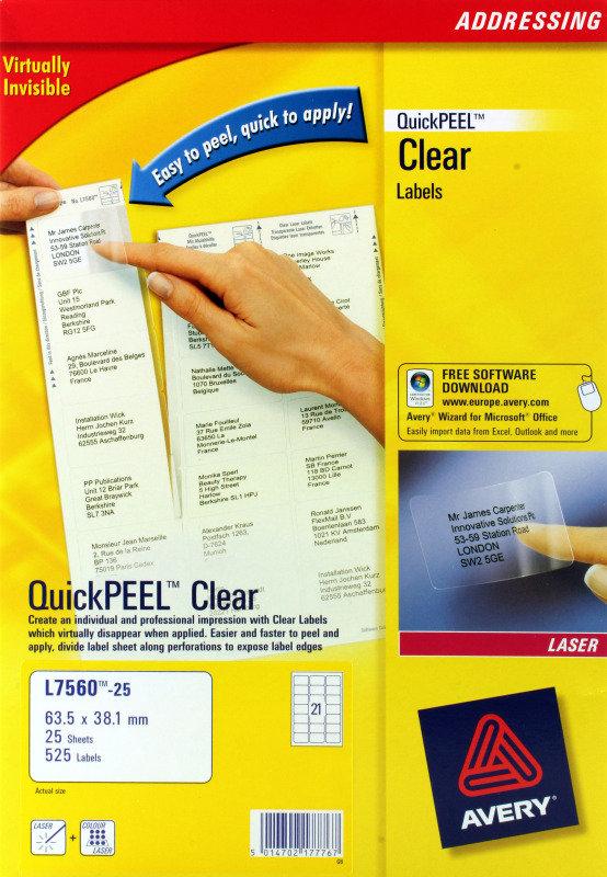 AVERY LSR LBL 63.5X38.1 CLR P25 L7560-25