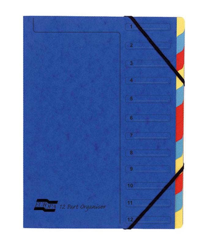 EUROPA 12PART ORGANISER BLUE 5222Z