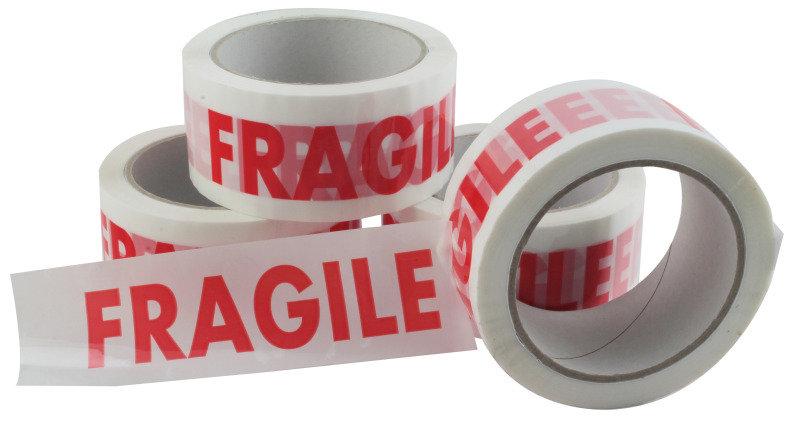 Image of Ambass Vinyl Tape Fragile White/red - 6 Pack