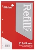 Silvine Refill Pad A4 80lf Fm A4rp - 6 Pack
