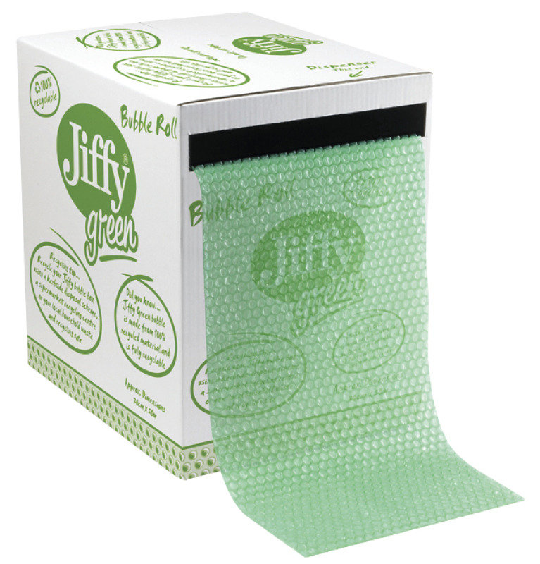 Image of Jiffy 43010 Green Bubble Wrap Dispenser Box 300mm x 50m