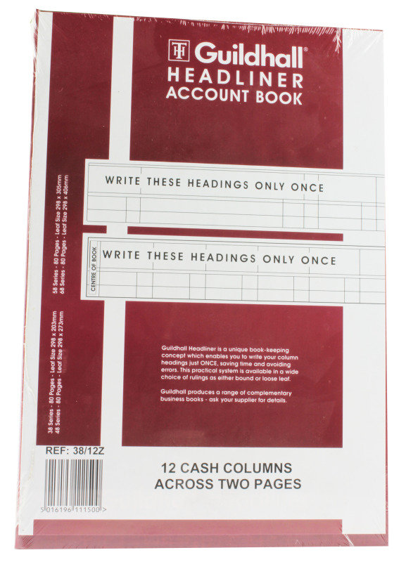*Guildhall Headliner Book 38 Series 12 Columns 80 Pages
