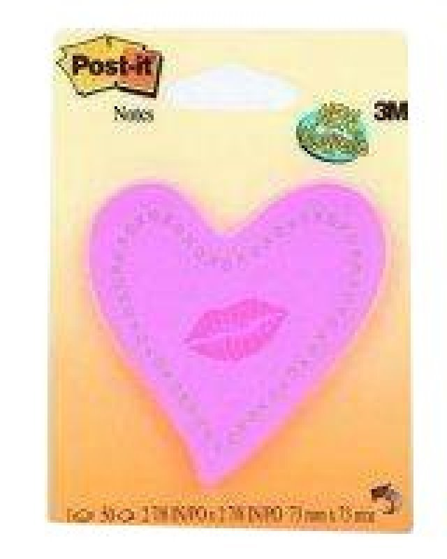 POSTIT NOTE HEART WITH LIPS NEON PINK