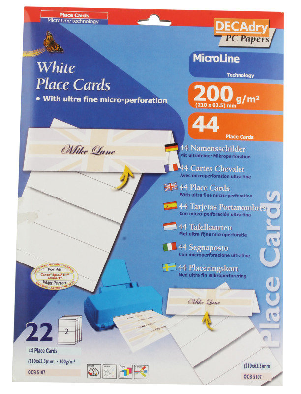 DECADRY PLACE CARD 210X63.5MM WHITE PK44